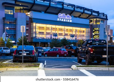 FOXBOROUGH, MA - SEPTEMBER 12, 2015 - Exterior night view of Gillette Stadium, home of the New England Patriots NFL football team in Foxboro Massachusetts lit up at night.