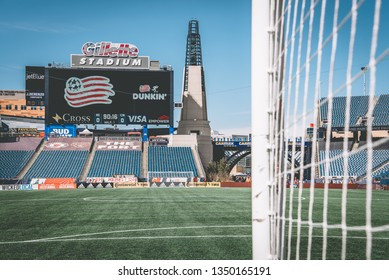 FOXBOROUGH, MASSACHUSETTS - MARCH 24, 2019: The Gillette Stadium prior to an MLS match between the New England Revolution and FC Cincinnati.