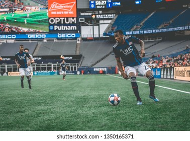 FOXBOROUGH, MASSACHUSETTS - MARCH 24, 2019: New England Revolution player, Luis Caicedo, in action during the MLS match against FC Cincinnati in the Gillette Stadium.