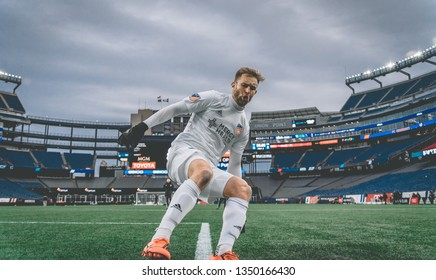 FOXBOROUGH, MASSACHUSETTS - MARCH 24, 2019: FC Cincinnati player, Caleb Stanko, in action after the MLS match against the New England Revolution in the Gillette Stadium.