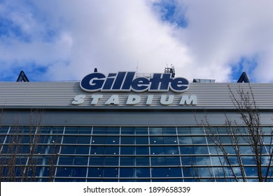 Foxborough, Massachusetts, USA - January 17, 2021: Sign on the exterior of Gillette Stadium, home of the New England Patriots and New England Revolution