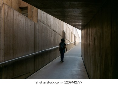 FOZ COA, PORTUGAL - NOVEMBER 2017: Côa Valley Art and Archaeology Museum by Architects Pedro Tiago Pimentel   and Camilo Rebelo. Woman walking in Coa Museum