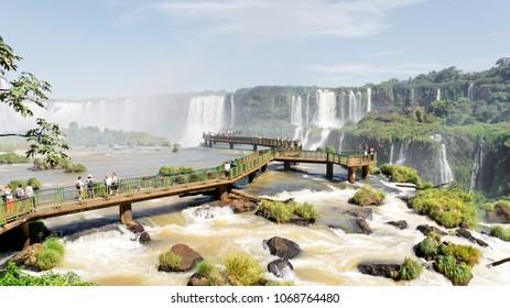 Foz do Iguaçu, Paraná / Brazil - April 9, 2018: Footbridge of the great Iguazu Falls on the Brazil side.