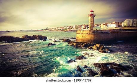 Foz do Douro lighthouse, Oporto, Portugal