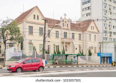 Foz do Iguacu, Brazil - January 06, 2018: Mother church of Paroquia Sao Joao Batista on the downtown of the city of Foz do Iguacu.