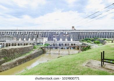 Foz do Iguacu, Brazil - January 08, 2018: Itaipu dam concrete structure. A huge binacional power plant of clean and renewable energy.