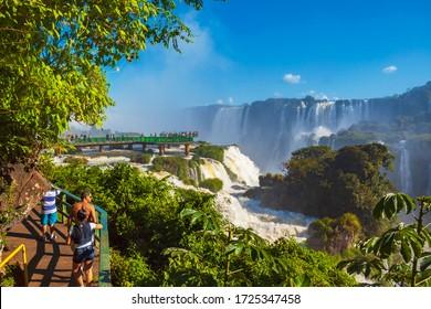Foz do Iguacu, Parana, Brazil - 04/22/2010: Iguazu Falls. Adventure travel destination. Word heritage tourist attraction in South America.