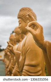 Foz do Iguacu/ PR/ Brazil - January 19, 2019: Sacred Buddhist images lined up at the Chen Tien Temple