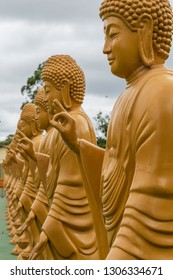 Foz do Iguacu/ PR/ Brazil - January 19, 2019: Sacred Buddhist images at the Chen Tien Temple