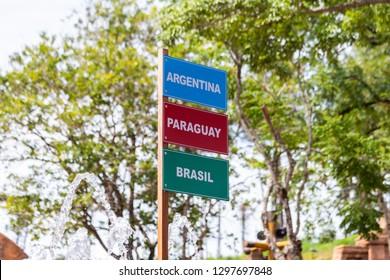 Foz do Iguazu, Brazil. JAN 13, 2019: Three Borders - Brazil, Paraguay and Argentina. Tourist Complex Marco of the Americas, also know as Three Borders Landmark. La Triple Frontera