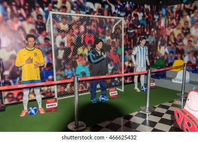 Foz do Iguazu, Brazil - july 10, 2016: Neymar, Messi and Maradona wax figure at the Wax Museum in Foz do Iguacu, Brazil