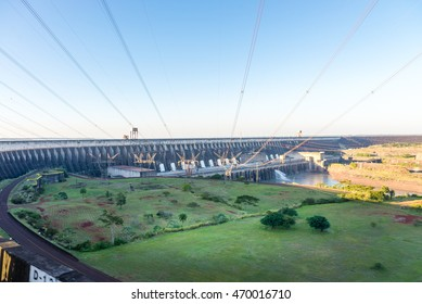 Foz do Iguazu, Brazil - july 8, 2016: View of the Itaipu Dam power lines, hydroelectric power station on the border of Brazil and Paraguay.