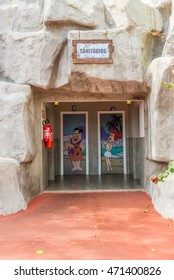 Foz do Iguazu, Brazil - july 10, 2016: Bathroon painting of Fred and Wilma Flintstone character from the Flintstones animated American television sitcom.