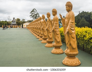 Foz do Iguaçu/ PR/ Brazil - January 19, 2019: Sacred Buddhist images lined up at the Chen Tien Temple