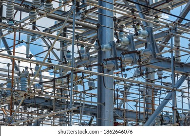 FPL electric substation closeup, power station, electrical equipment - Florida, USA