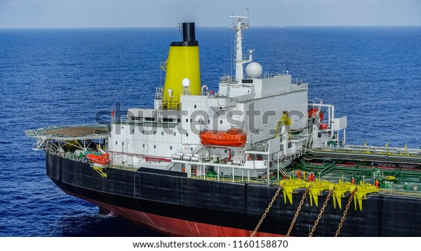 FPSO ship stern part photo with helicopter deck, life boat and control room in offshore oil field