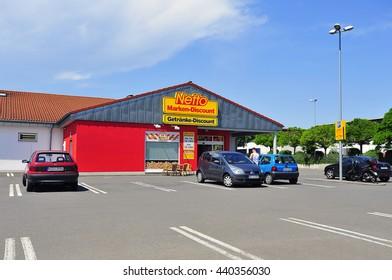 FRABKFURT,GERMANY-JUNE 07:Netto Marken-Discount store on June 07,2016 in Frankfurt,Germany.Netto Marken-Discount is a German supermarket chain.
