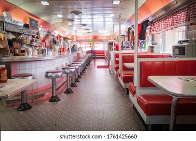 Frackville USA - October 21 2014; Traditional styl;e American Diner in retro design fitout red and white dominant colors.