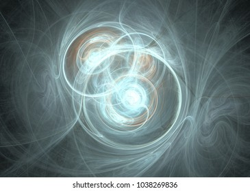Fractal. Abstract background element. Glowing lines and halftone effects