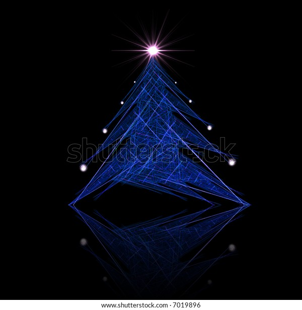 Fractal abstract - christmas tree (with star and decorations)