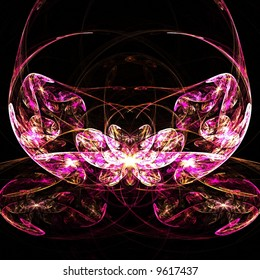 Fractal abstract of pink lotus flower
