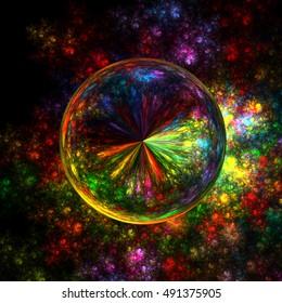 Fractal  Abstract Swirl Sphere Background - Fractal Art