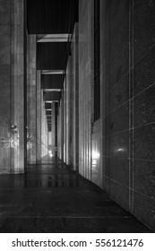 Fractal arches of rectangular buildings at night