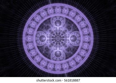 Fractal art background for creative design. Abstract fractal medallion. Decoration for wallpaper desktop. Psychedelic. Print for clothes, t-shirt. Magic graphics.