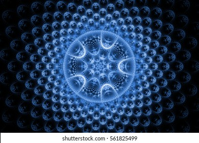 Fractal art background for creative design. Abstract fractal sphere. Decoration for wallpaper desktop, web site, phone box. Psychedelic. Print for clothes, t-shirt. Magic entries. Computer graphics.