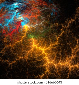 Fractal art. A flash of lightning. Realistic effect of electrical discharge on a black background.