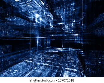 Fractal City series. Backdrop of three dimensional fractal structures and lights on the subject of technology, communications, education and science