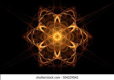 Fractal decorative illustration of  bright glowing fiery orange flower on black background