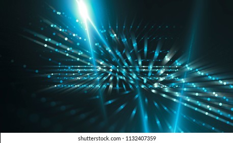 Fractal explosion star with gloss and lines. Lights blue background with rays. Flash light. Illustration beautiful.