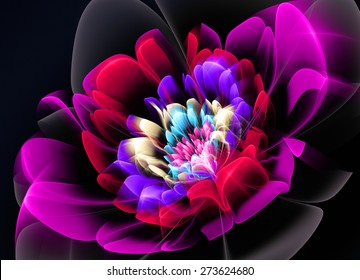 Fractal Flower red Glass effects