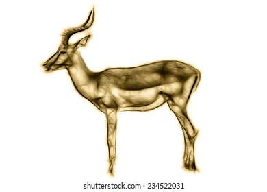 Fractal illustration of a male impala antelope