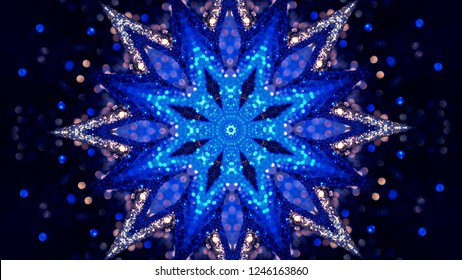 Fractal Noise and Kaleidoscopic. Pattern made with Particle System. mirror prism creating toy effect, with shimmering lights and fast changing mandala shapes