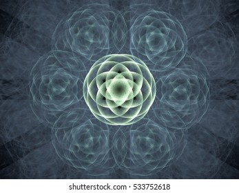 Fractal pattern of  abstract rose  on  black background