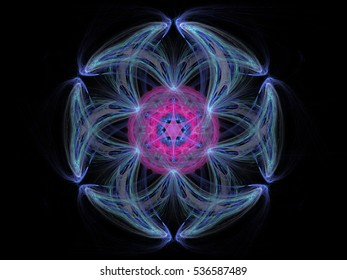 Fractal pattern of  blue pink flower  with hearts  on  black background