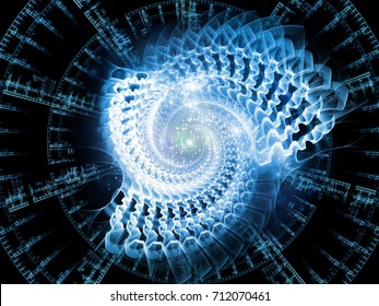Fractal Swirl series. Backdrop composed of light and fractal geometry patterns and suitable for use in the projects on design, illustration of modern science and technology