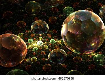 Fractal  Transparent Shining  Sphere Background   - Fractal Art