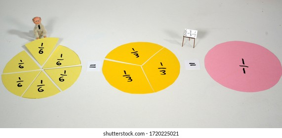 Fraction demonstration where sixth parts are reuced to thirds and then to one.