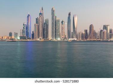 Fraction of Dubai Marina district skyline after sunset. Dubai, United Arab Emirates - 02/DEC/2016