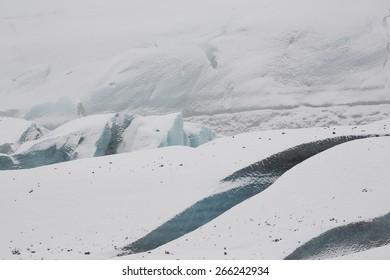 Fractured blue ice of the Svínafellsjökull Glacier, Iceland