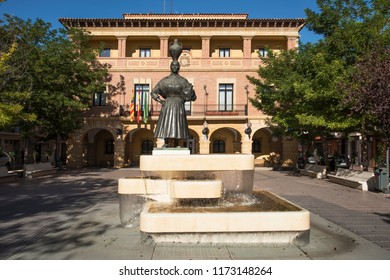 FRAGA, SPAIN -  AUGUST 20, 2017: A view of the facade of the Ayuntamiento, the Town Hall of Fraga, Spain, in the Plaza de Espana square