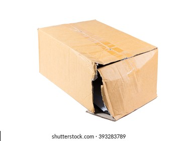 Fragile box damaged isolated on white