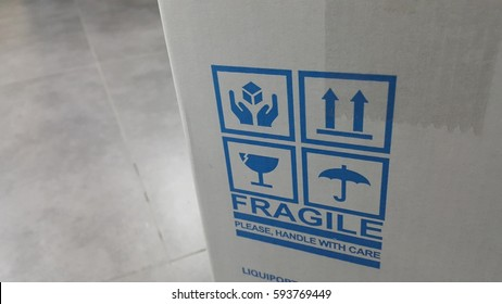 Fragile caution of delivery product box