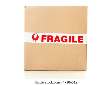 Fragile delivery service. Box, scotch tape, envelops