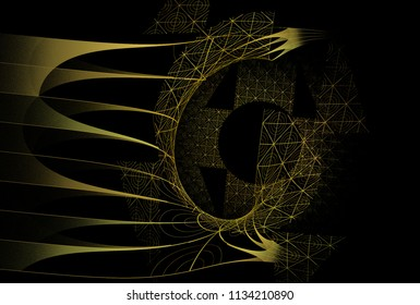 Fragile gold / yellow abstract woven web / disc design (3D illustration, black background)