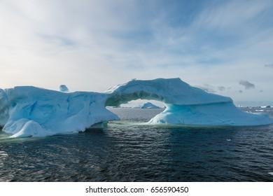 Fragile ice bridge in Antarctica