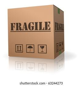 fragile post package sending delicate shipment cardboard box